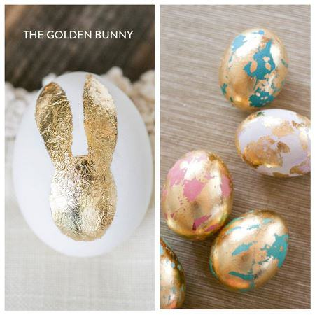 Gold Leaf Bunny Easter Eggs