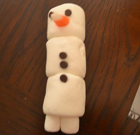 Add Mini Chocolate Chips for the Snowman's buttons