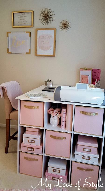 Kate Spade Inspired Storage Boxes. Pink And Gold Craft Room Storage Boxes