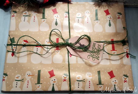 Dollar Tree Wrapping Paper and Green Twine