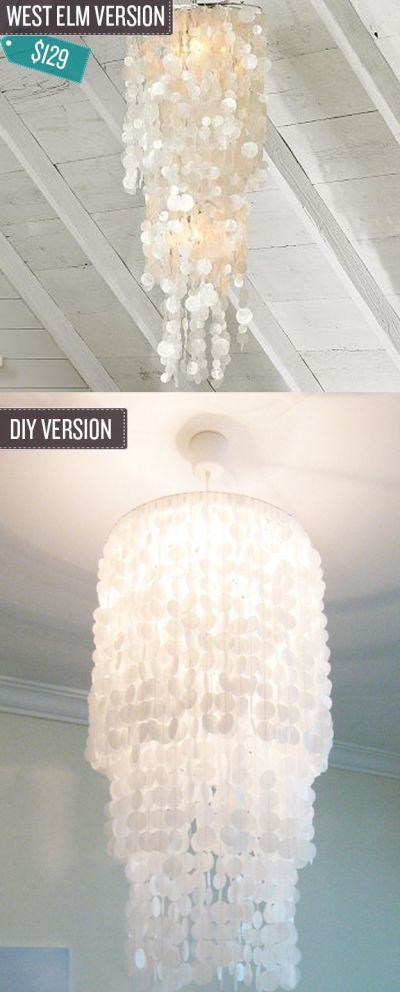 West Elm Inspired Capiz Shell Chandelier