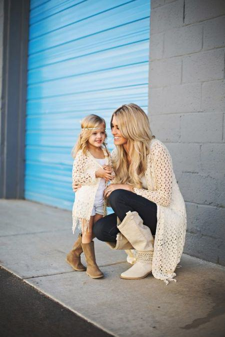 Mommy and Me Crochet Trim Cardigans