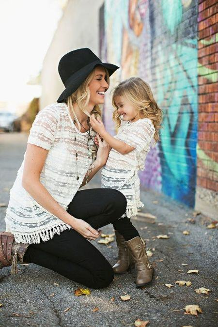 Mommy and Me Lace fringe tunic