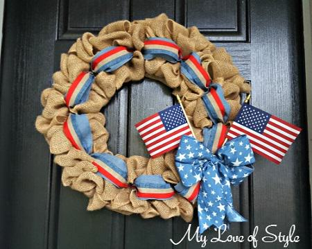 DIY Patriotic themed burlap wreath