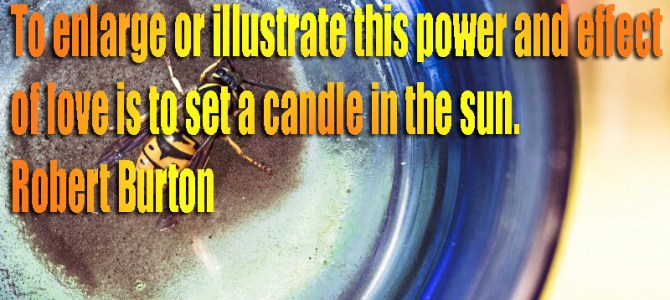 To see the power of love set a candle in the sun