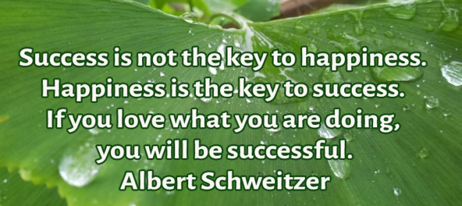 Happiness is the key to success, if you love what you do you will be successful