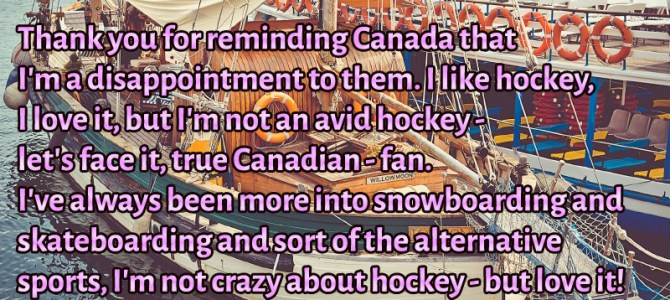I'm not crazy about hockey – but love it