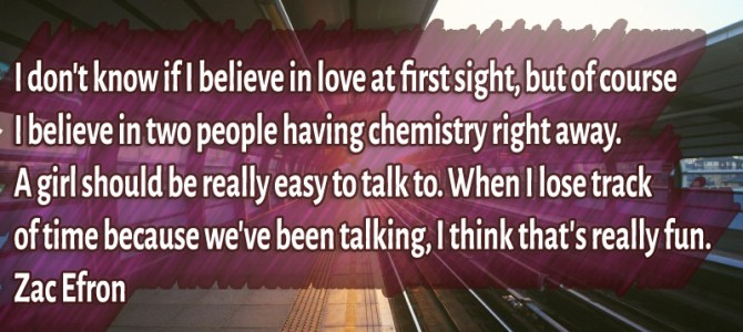 I believe in two people having chemistry right away