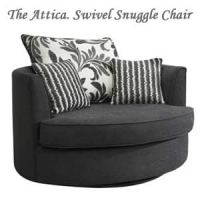 Buy Half Price Swivel Snuggle Chair Love Seat in Charcoal Grey
