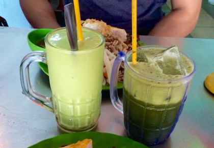 Left: avocado shake - Right: pennyworth drink