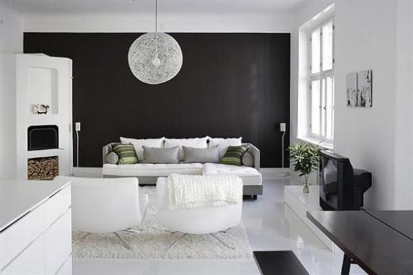 black and white living room interior design STYLISH HOME: Black and white interiors