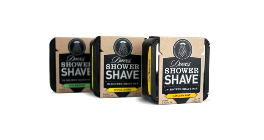 Brand identity, packaging, and industrial design  for new men's grooming brand Dave's Shower Shave.