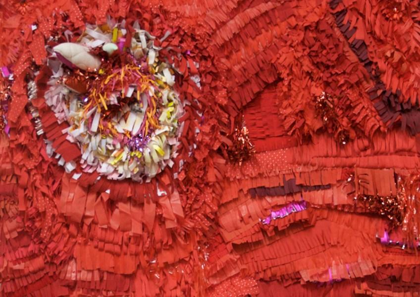 """All Idols Fall, 2011, Cut fabric and paper, yarn, found objects, thread, glue on stretched felt, 43"""" x 60"""" x 4"""""""