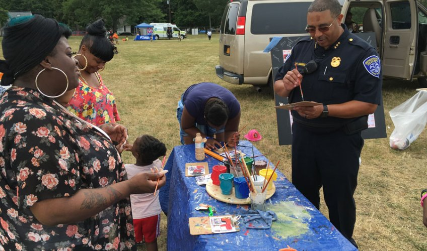 In 2019, The Art Force 5 partnered with the NFL to bring together some active players, a police department, and a youth organization to build a mosaic tribute to Atlanta's first Black police force of 1948.