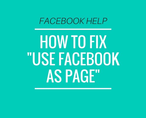 How to fix use facebook as page