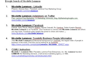 Google search for Nicolette Lemmon