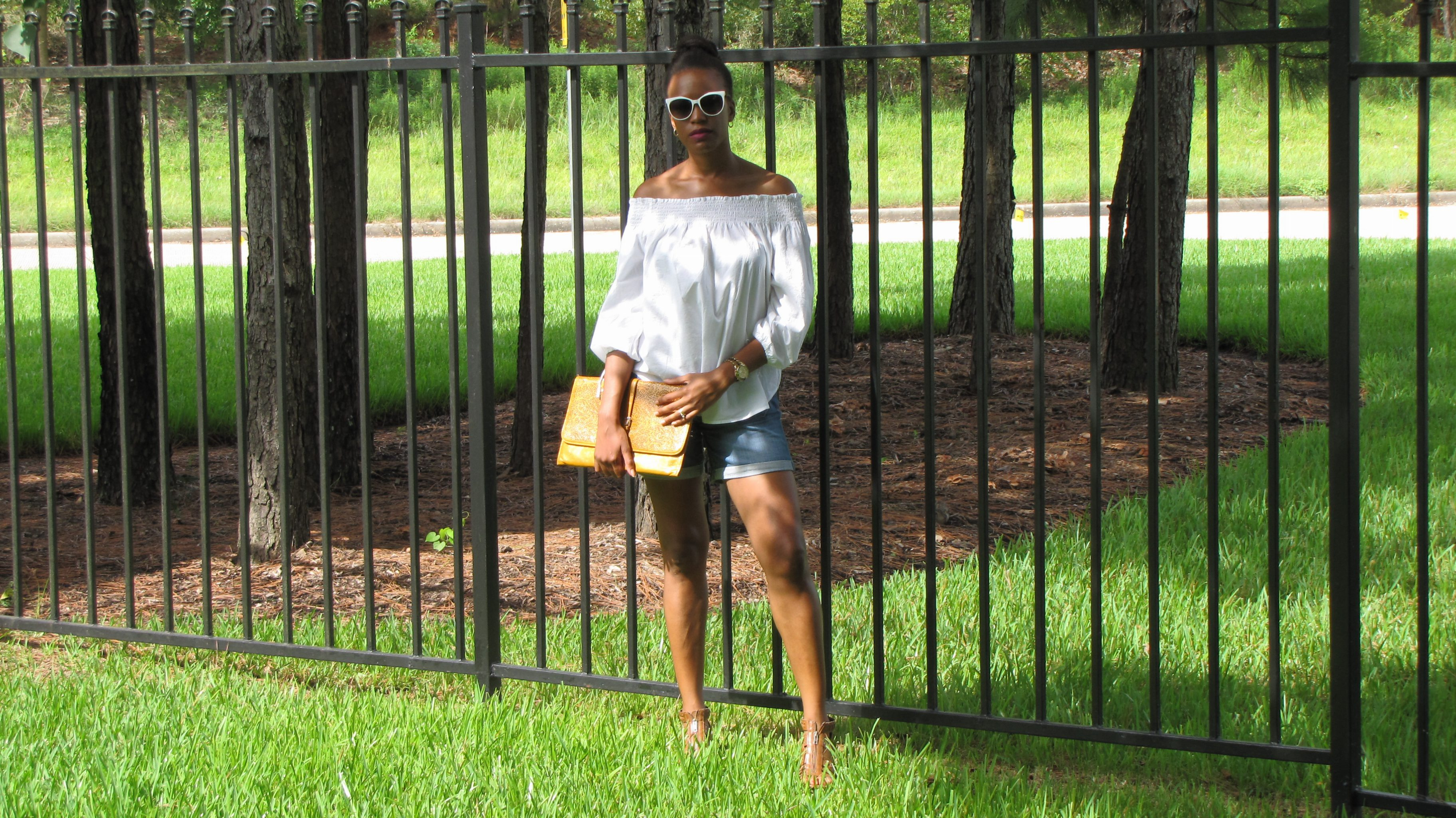 H&M white off the shoulder blouse