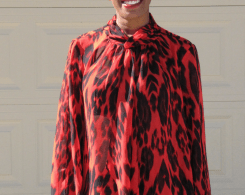 red leopard print blouse and black skinny pants