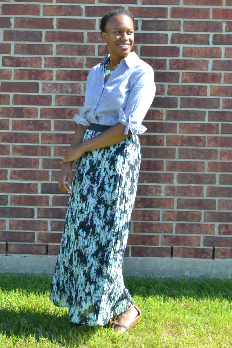 forever 21 chambray shirt and kohl's skirt