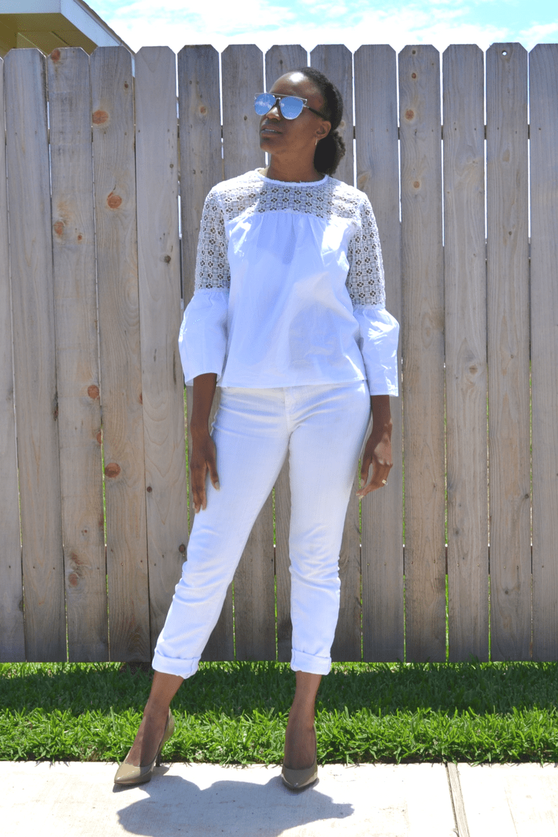 marshall's white jeans and target blouse