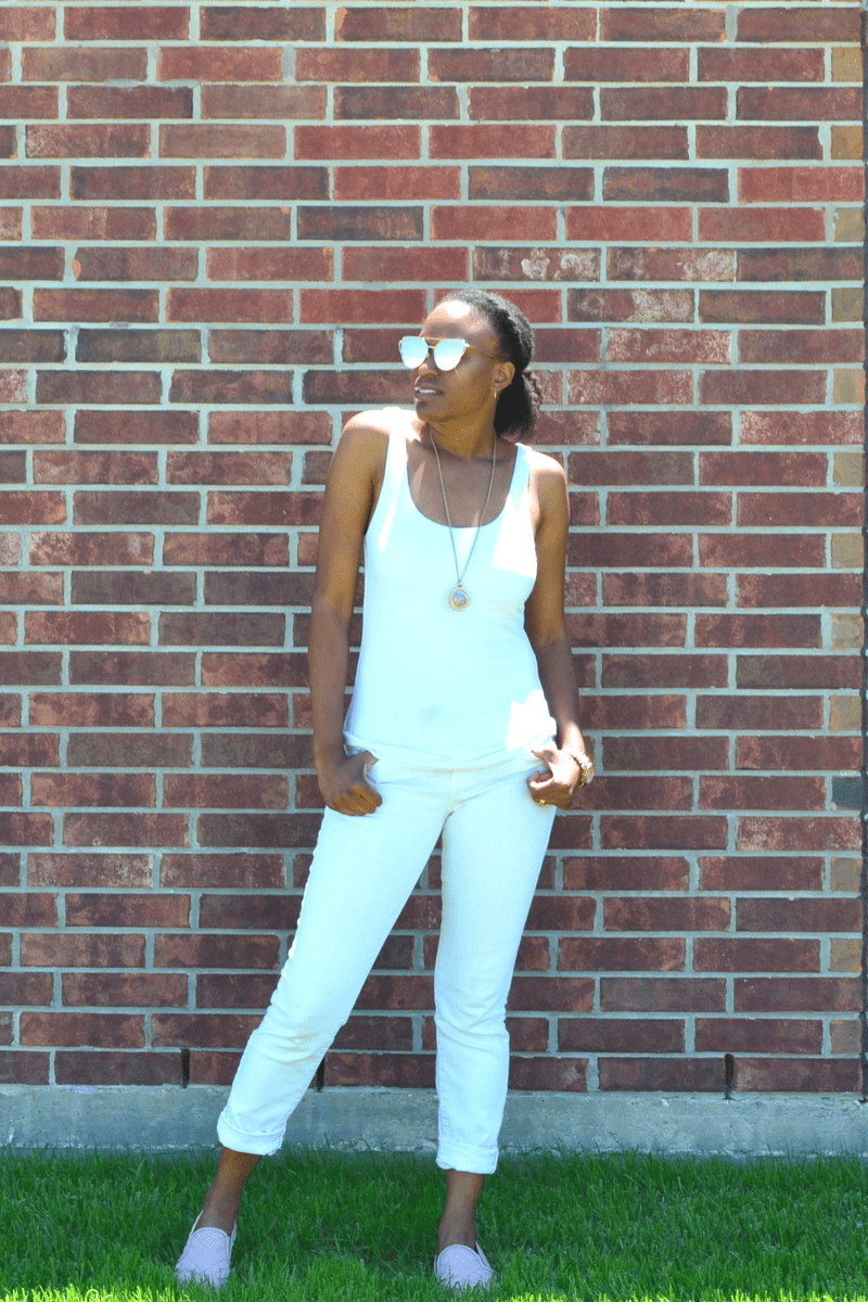 marshall's white jeans and express tank top