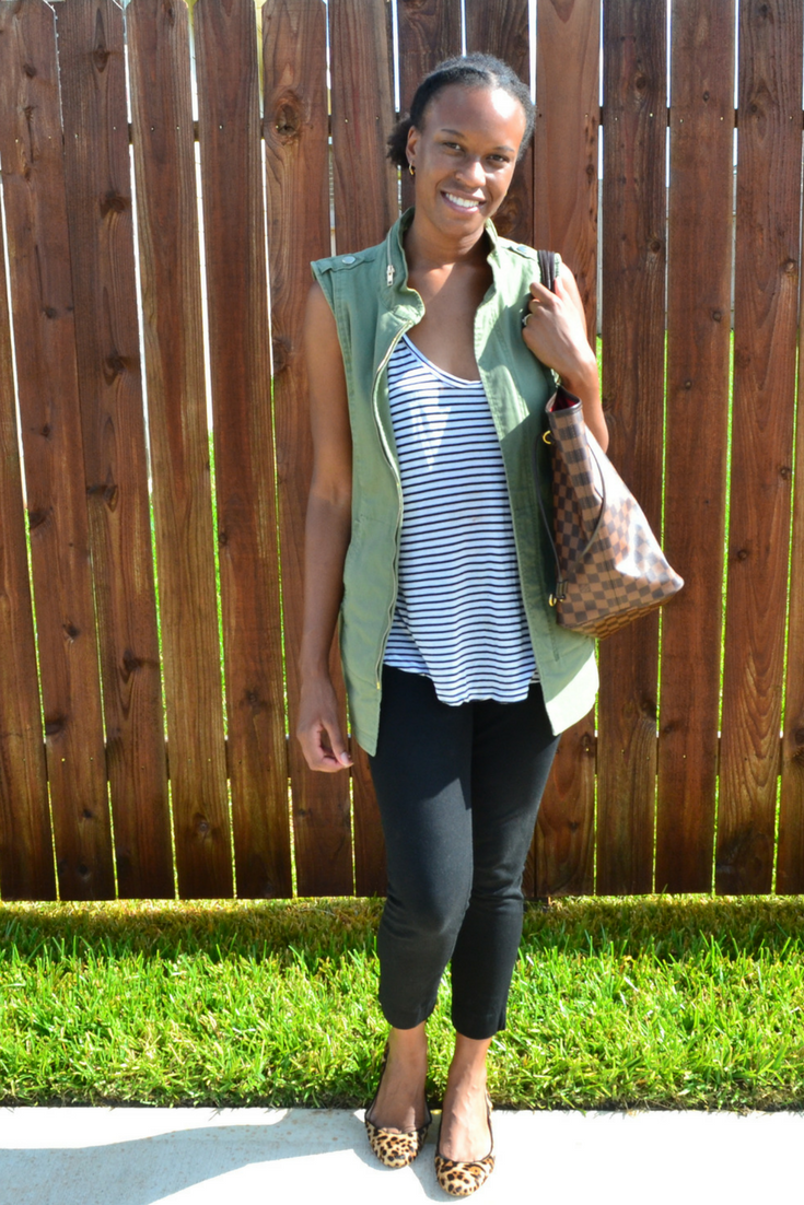cabi vest and j.crew shoes