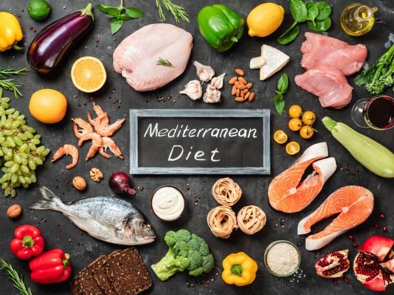 Mediterranean diet foods. Chalkboard with words Mediterranean Diet in center.
