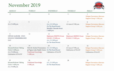 Maskwacis Counselling & Support Services Nov. Calendar