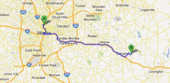 Driving Distance to East Mountain Studios Atlanta Georgia