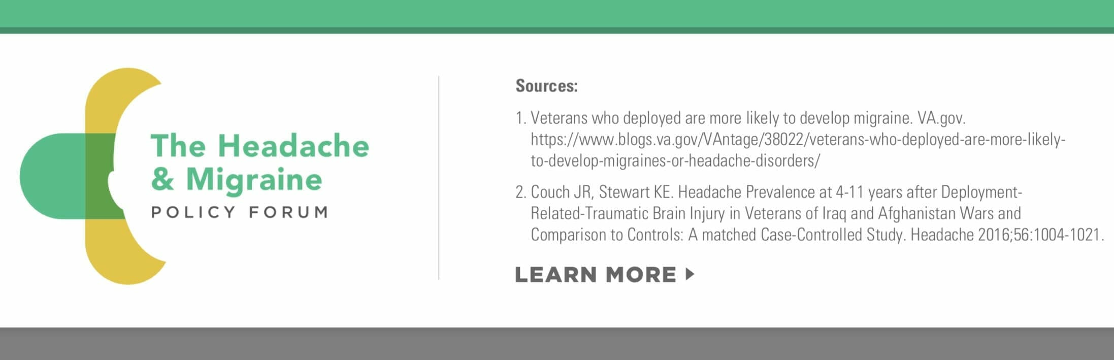 Veterans with Headache Diseases from the headache and migraine policy forum