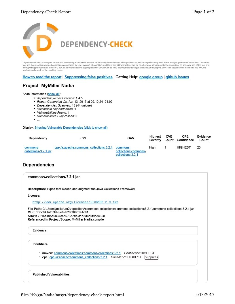 owasp dependency check report