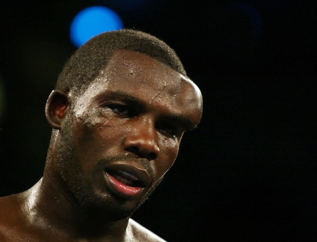 A massive hematoma forms on the head of Hasim Rahman during a fight with Evander Holyfield.