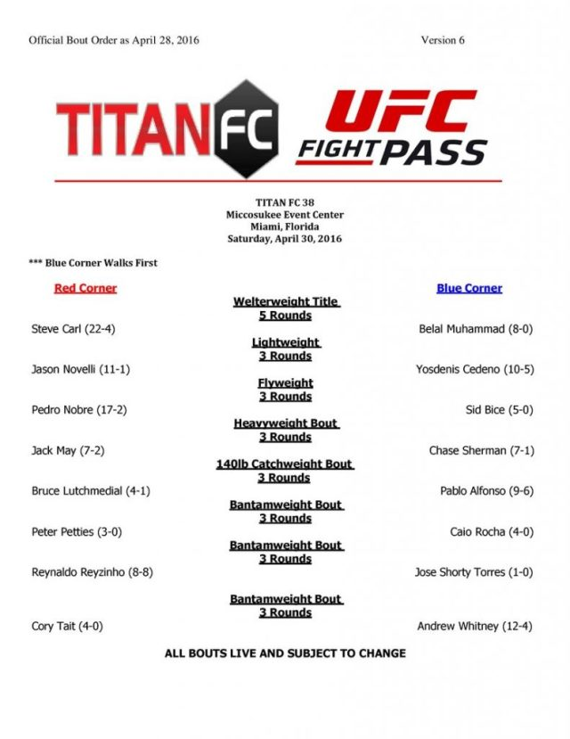 Titan FC 38 fight card