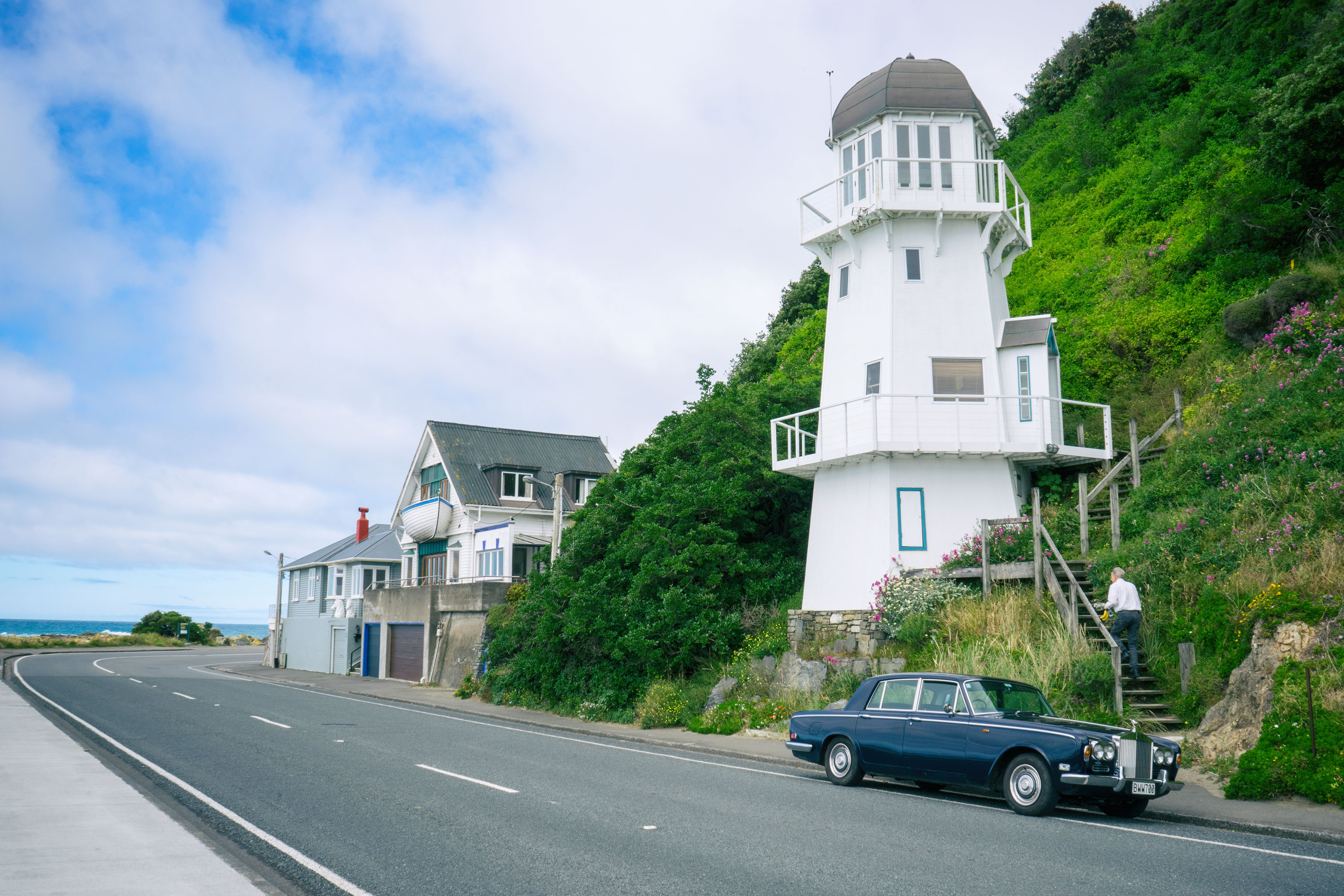 Owhiro Bay Lighthouse By The Road