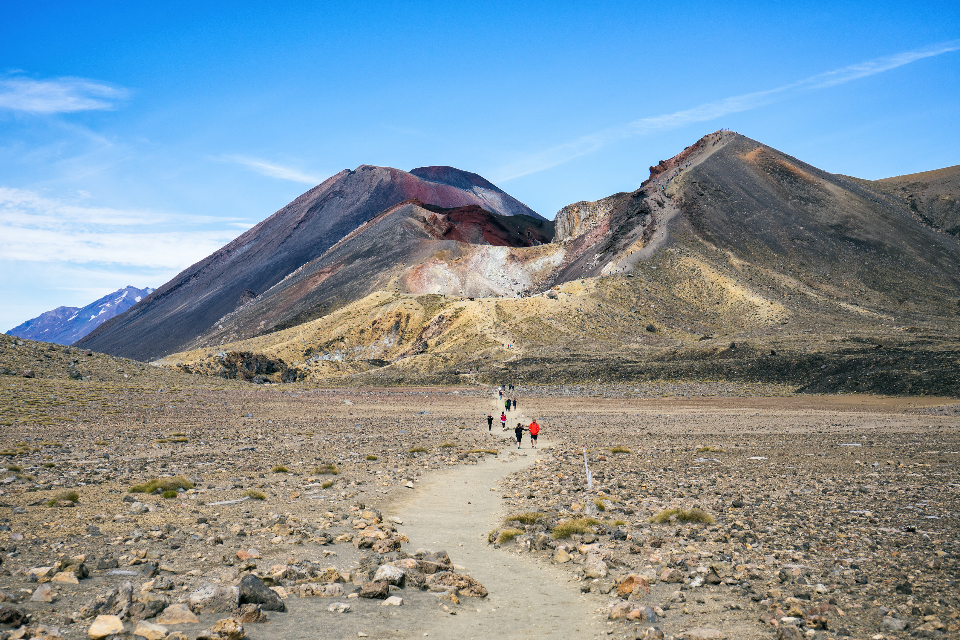 Tongariro Alpine Crossing Trail View With Red Crater And Mt Ngauruhoe Background