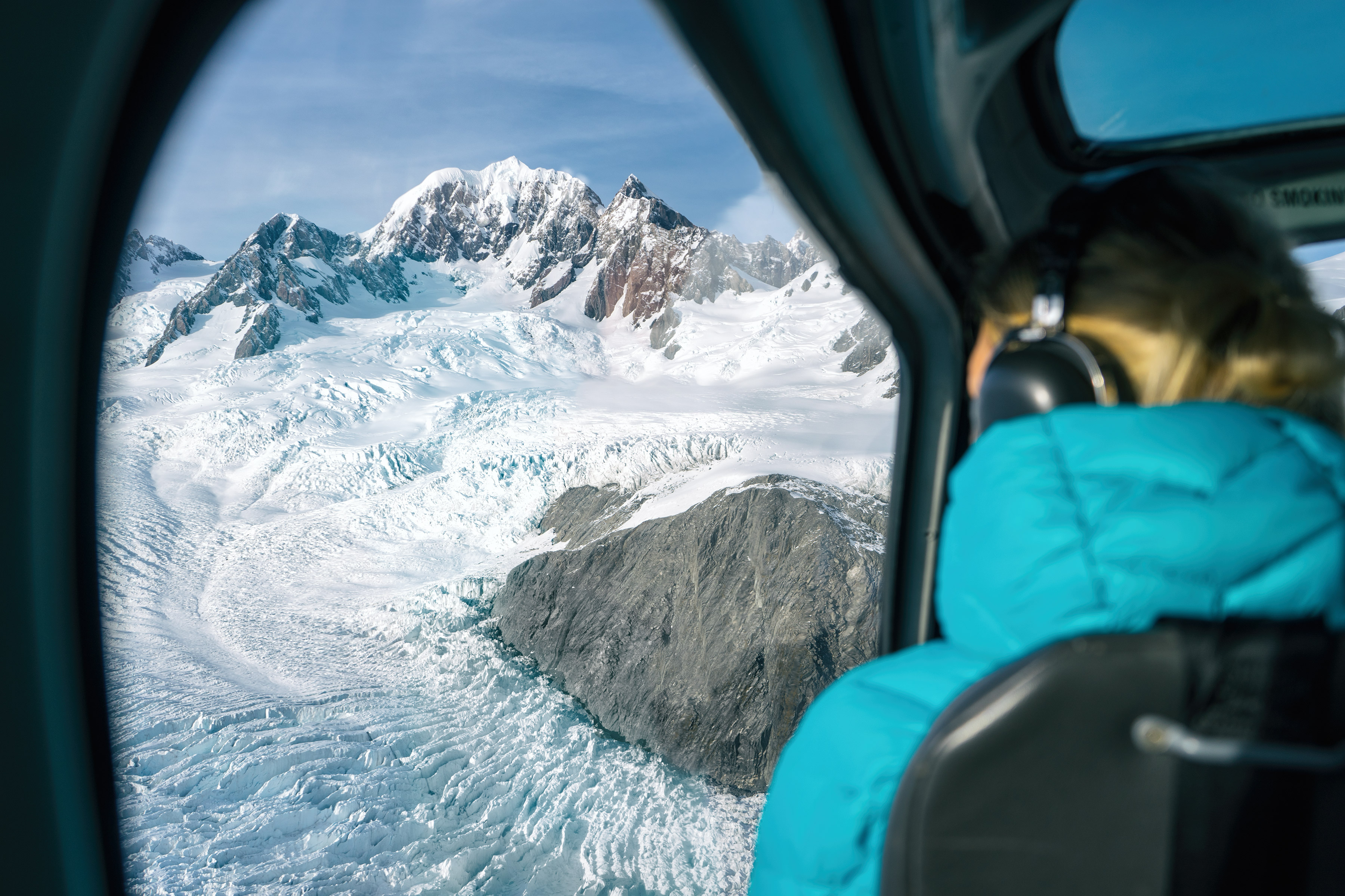 Southern Alps From Above View Of Top Of Fox Glacier And Mountains From Helicopter