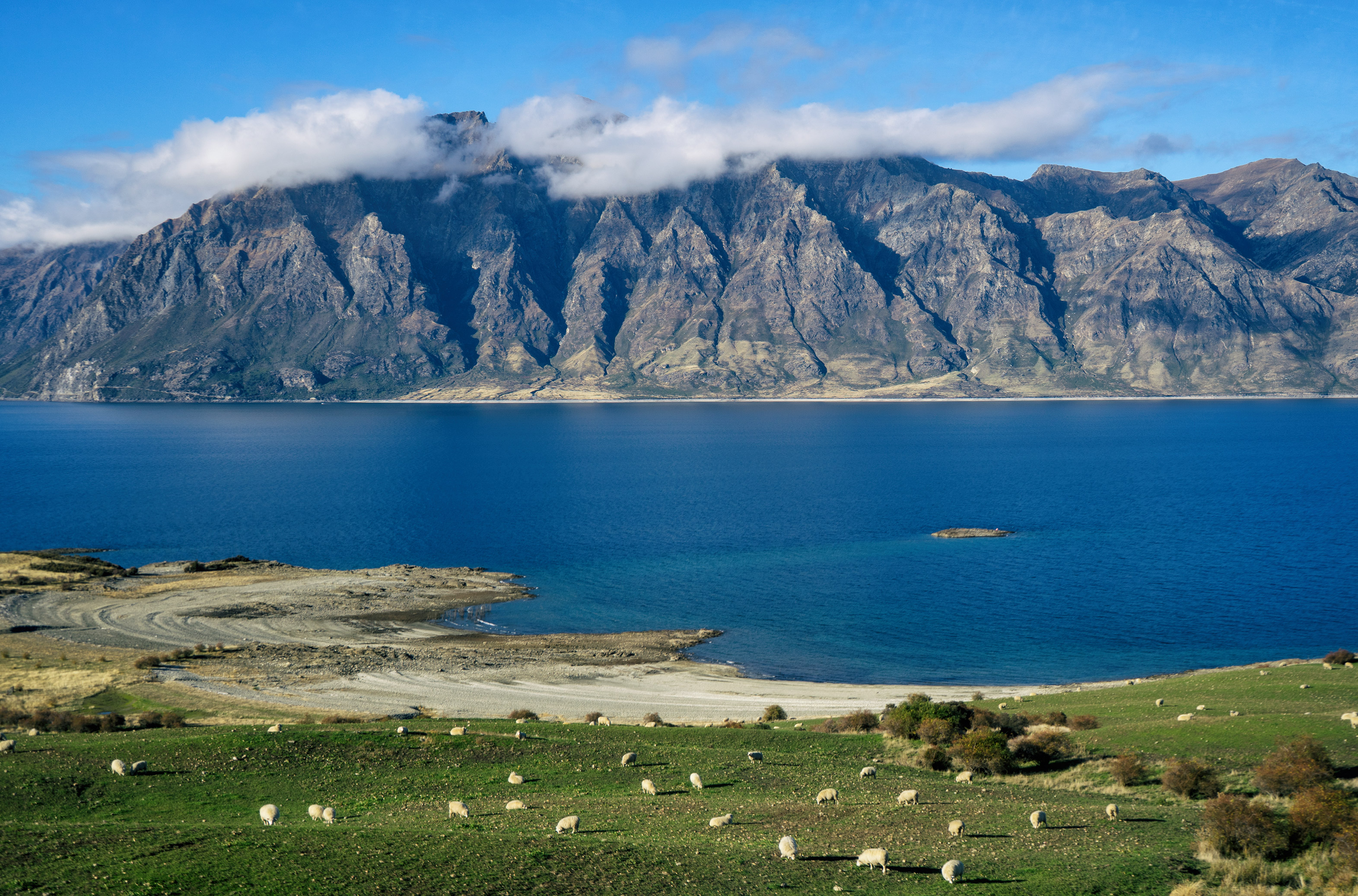 Lake Hawea And Sheep Station In Foreground