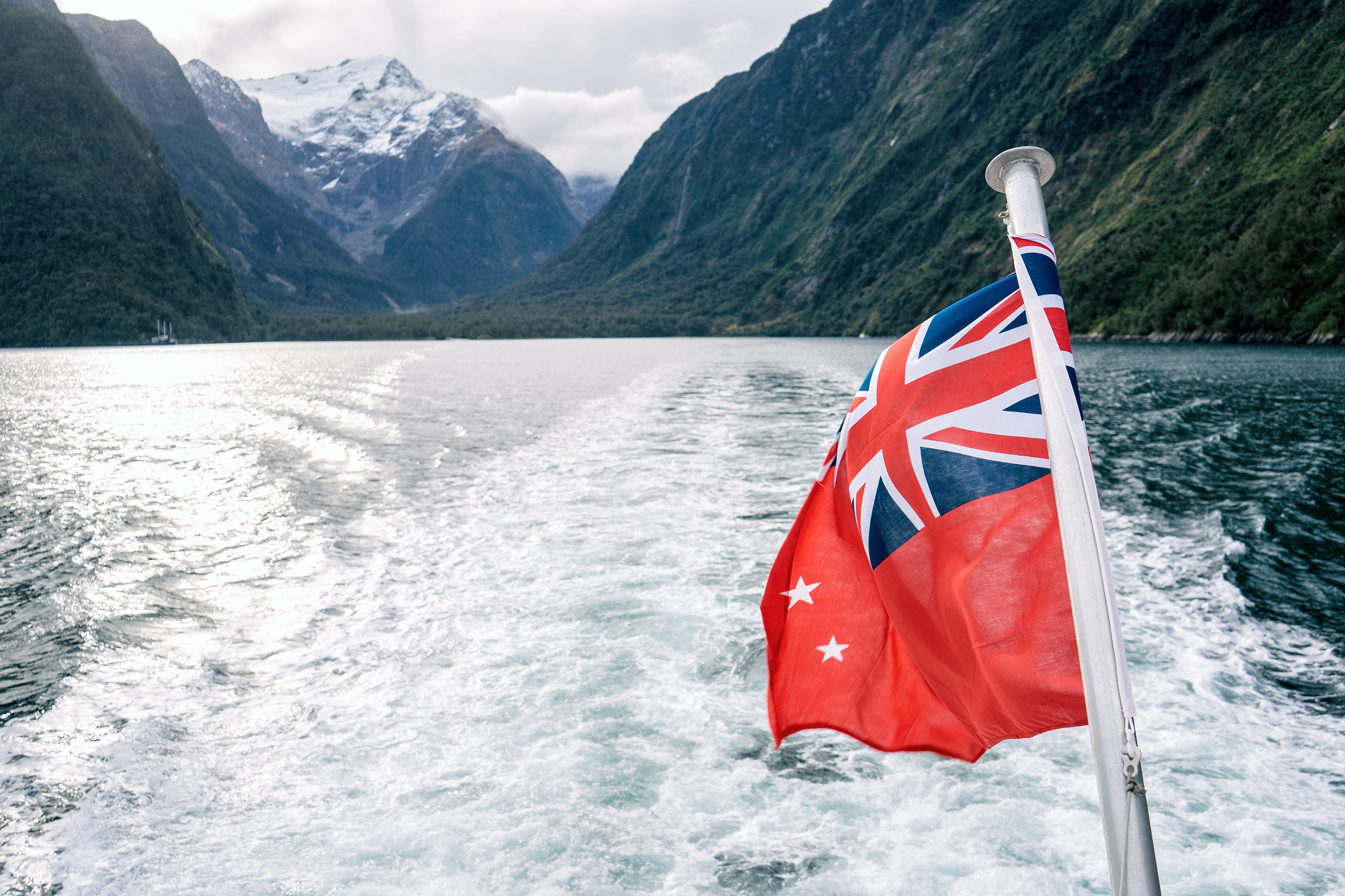 Milford Sound New Zealand Red Ensign Flag Foreground