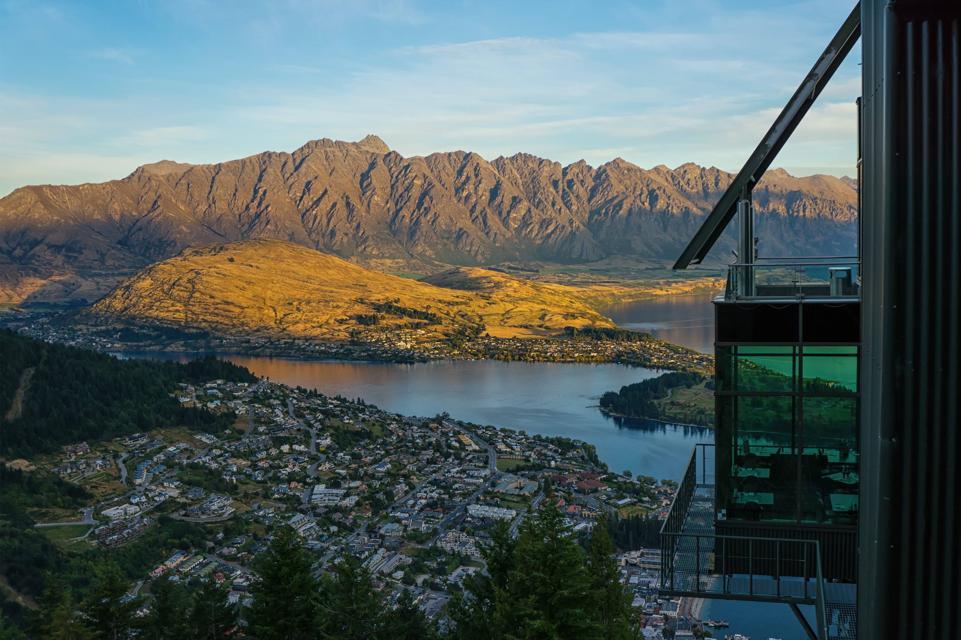 Queenstown Skyline Restaurant And The Remarkables At Sunset
