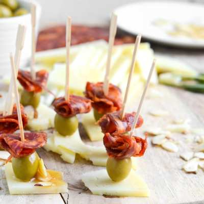 Chorizo, Manchego and Olive Skewers