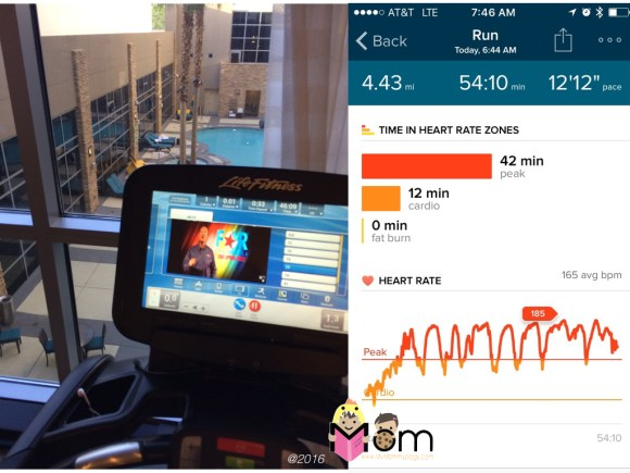 View from the treadmill. And my Fitbit recording as proof!