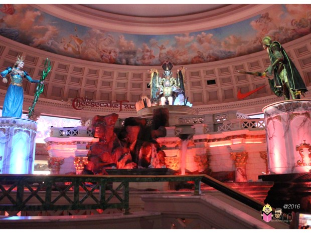 """Another """"free"""" show at Caesar's Palace.  Great branding placement, Cheesecake Factory."""
