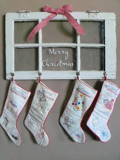 stockings on decorative window frame