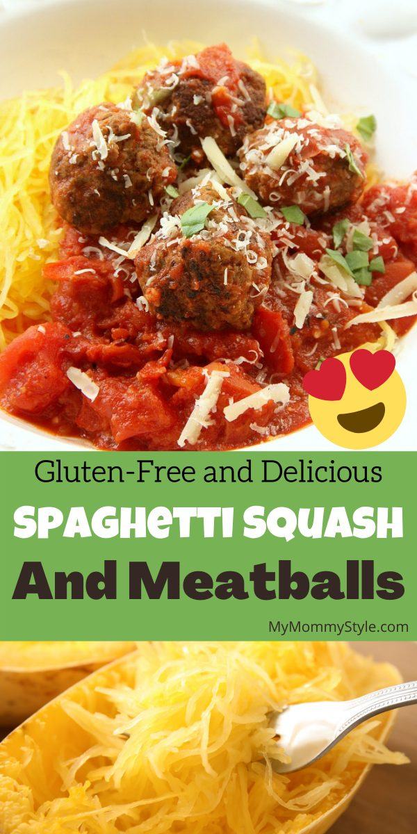 Skip the pasta and try this healthy spaghetti squash and meatballs. This dish is a family favorite with all the flavor and no guilt. #spaghettisquashandmeatballs #spaghettisquash #glutenfreedinner via @mymommystyle