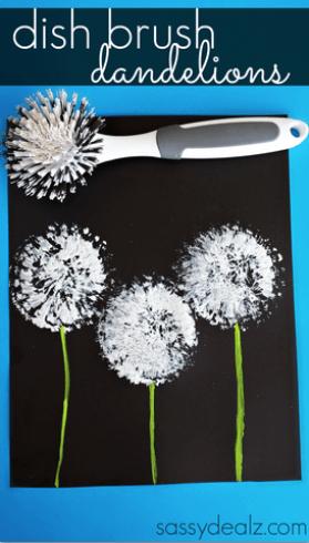 dish brush dandelions painting