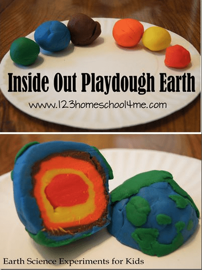 Play dough Earth with inner layers