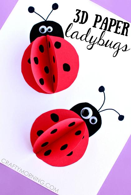 Ladybug craft of 3D paper ladybugs