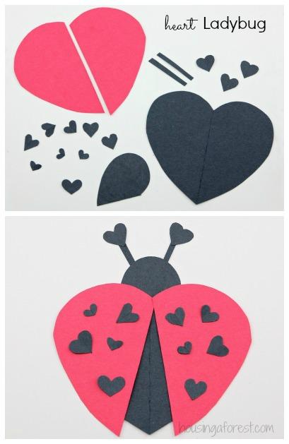 Construction paper heart ladybug