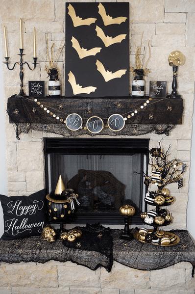Gold Pumpkins and Black Bats Halloween Mantel