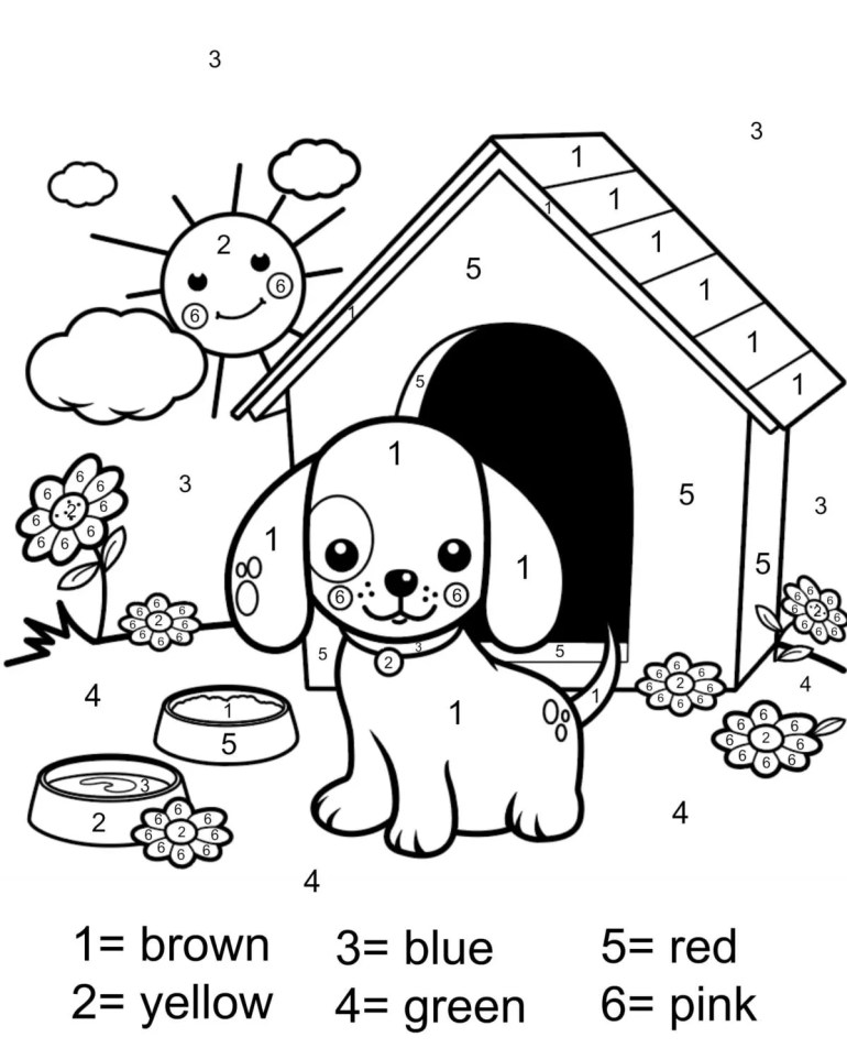 Color by number coloring page free printable - My Mommy Style | number coloring pages for kindergarten